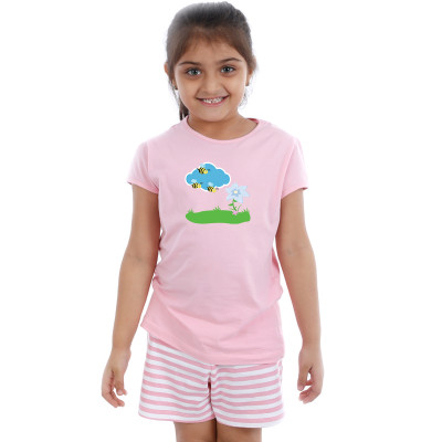Pink Half sleeve Girls Pyjama - Honey Bees
